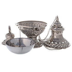 Bell-mouthed thurible in nickel-plated brass 11 3/4 in with basket s3