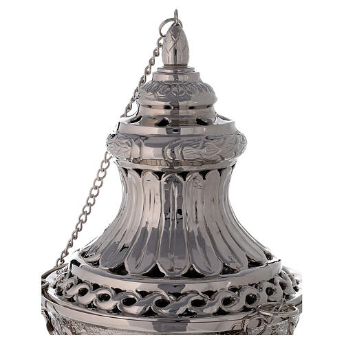 Bell-mouthed thurible in nickel-plated brass 11 3/4 in with basket 2