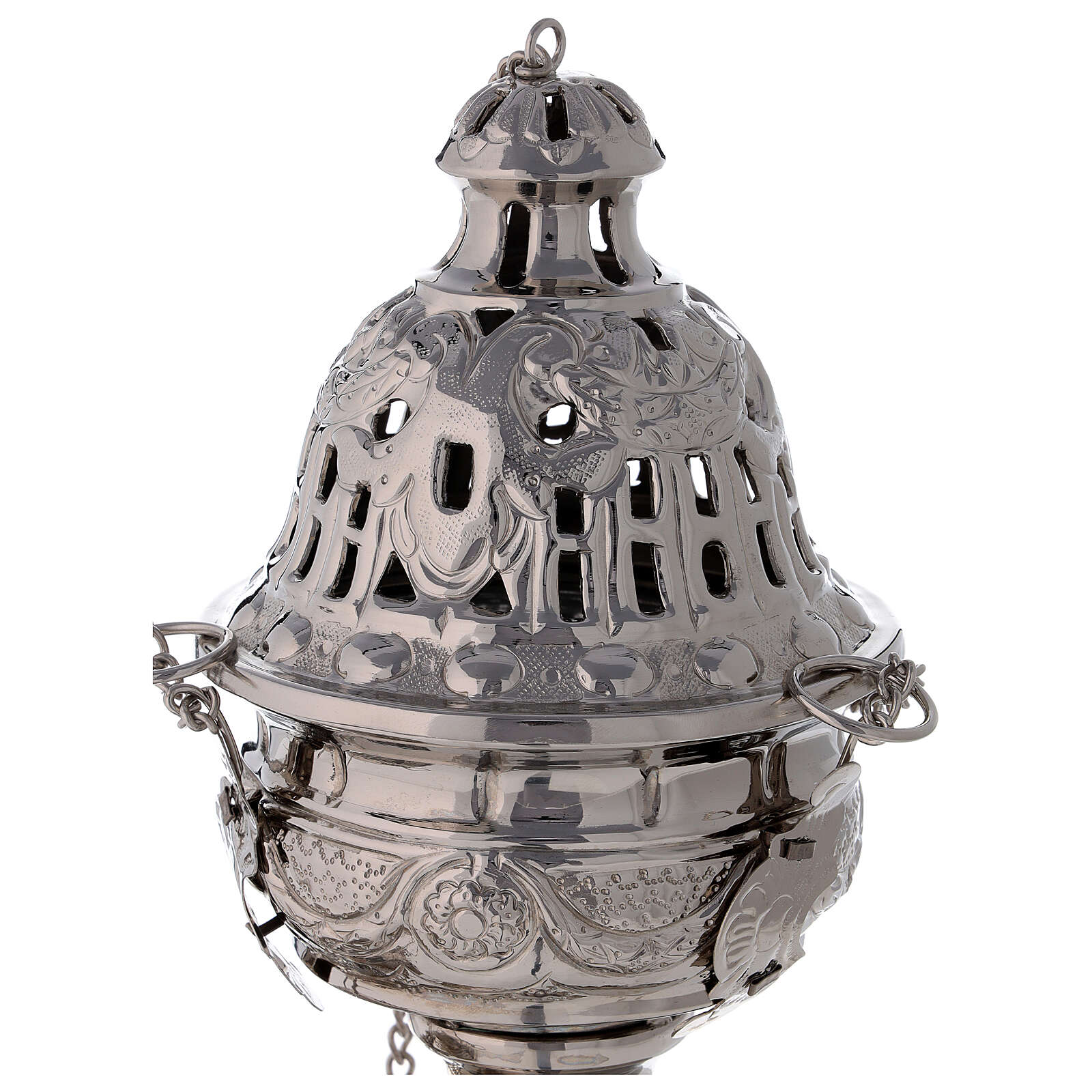 Decorated thurible with festoons nickel-plated brass 9 1/2 in 3