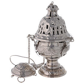 Decorated thurible with festoons nickel-plated brass 9 1/2 in s1