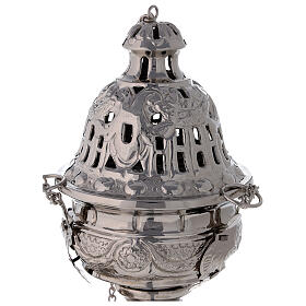 Decorated thurible with festoons nickel-plated brass 9 1/2 in s2