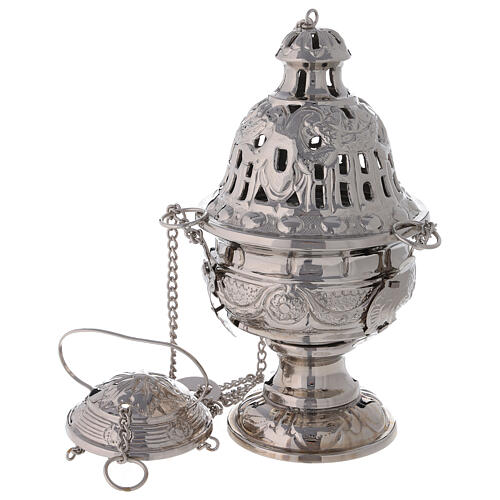 Decorated thurible with festoons nickel-plated brass 9 1/2 in 1