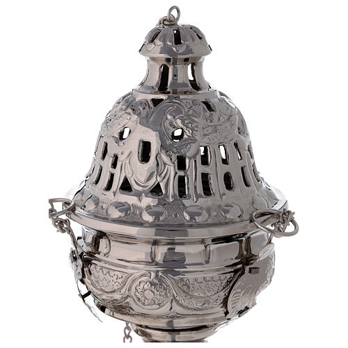 Decorated thurible with festoons nickel-plated brass 9 1/2 in 2