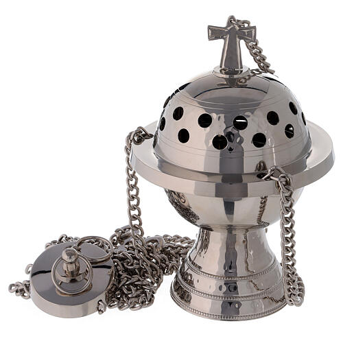 Spherical thurible with high base in nickel-plated brass 7 1/2 in 1