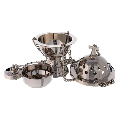 Spherical thurible with high base in nickel-plated brass 7 1/2 in 2