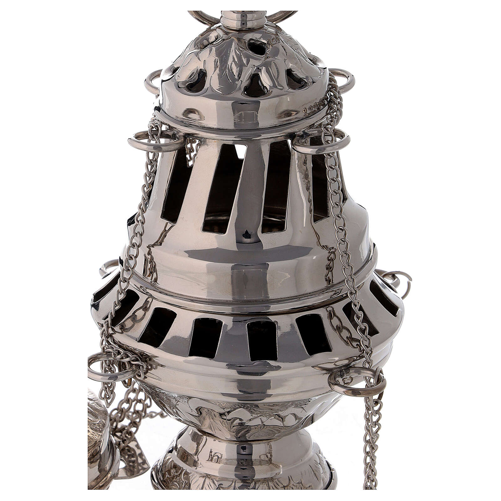 Santiago style thurible 6 1/4 in nickel-plated brass 3