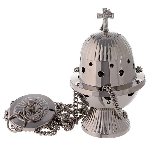 Oval striped thurible 7 in nickel-plated brass 1
