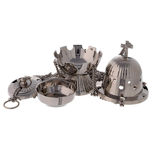 Oval striped thurible 7 in nickel-plated brass 2