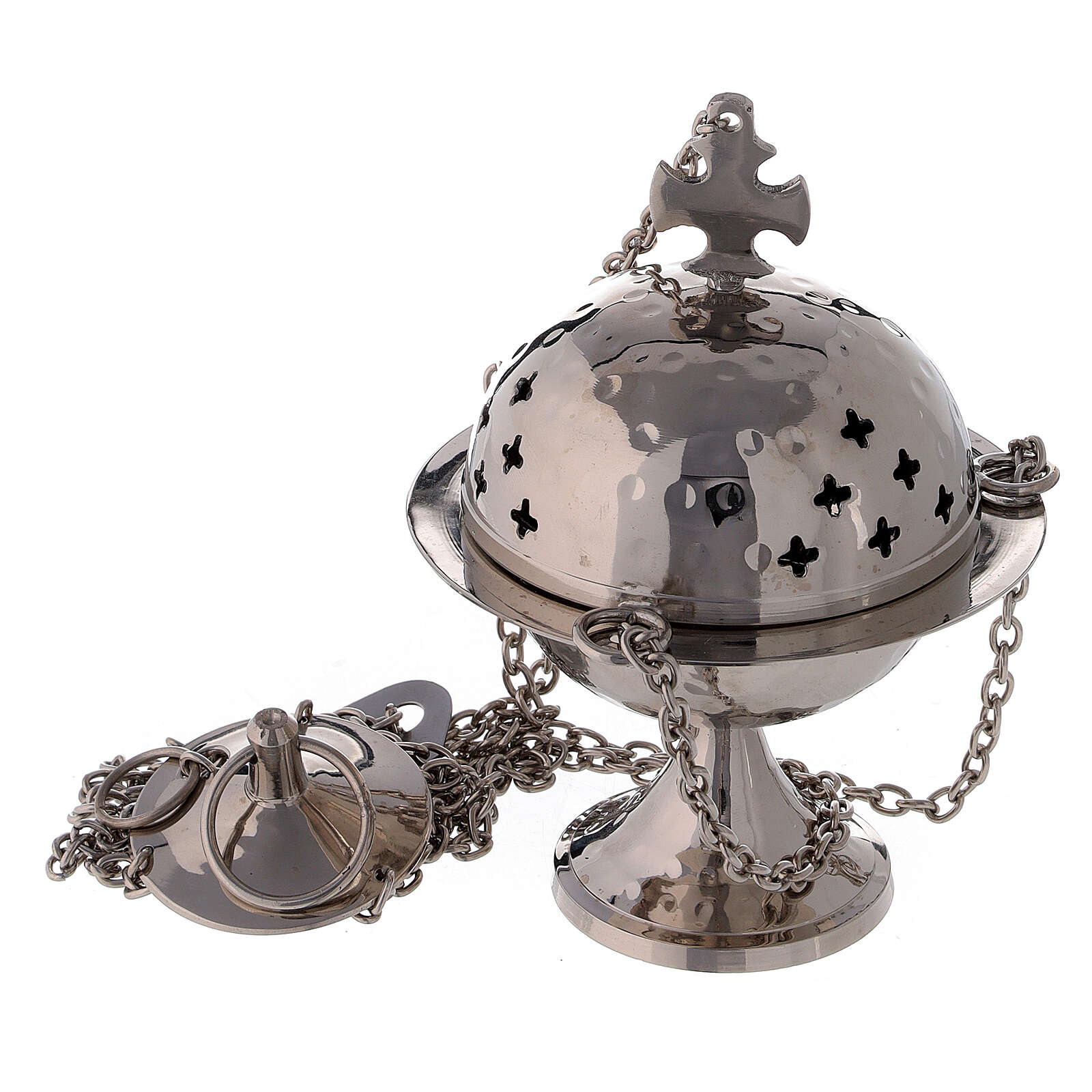 Thurible with narrow base and cross shaped holes 6 in nickel-plated brass 3