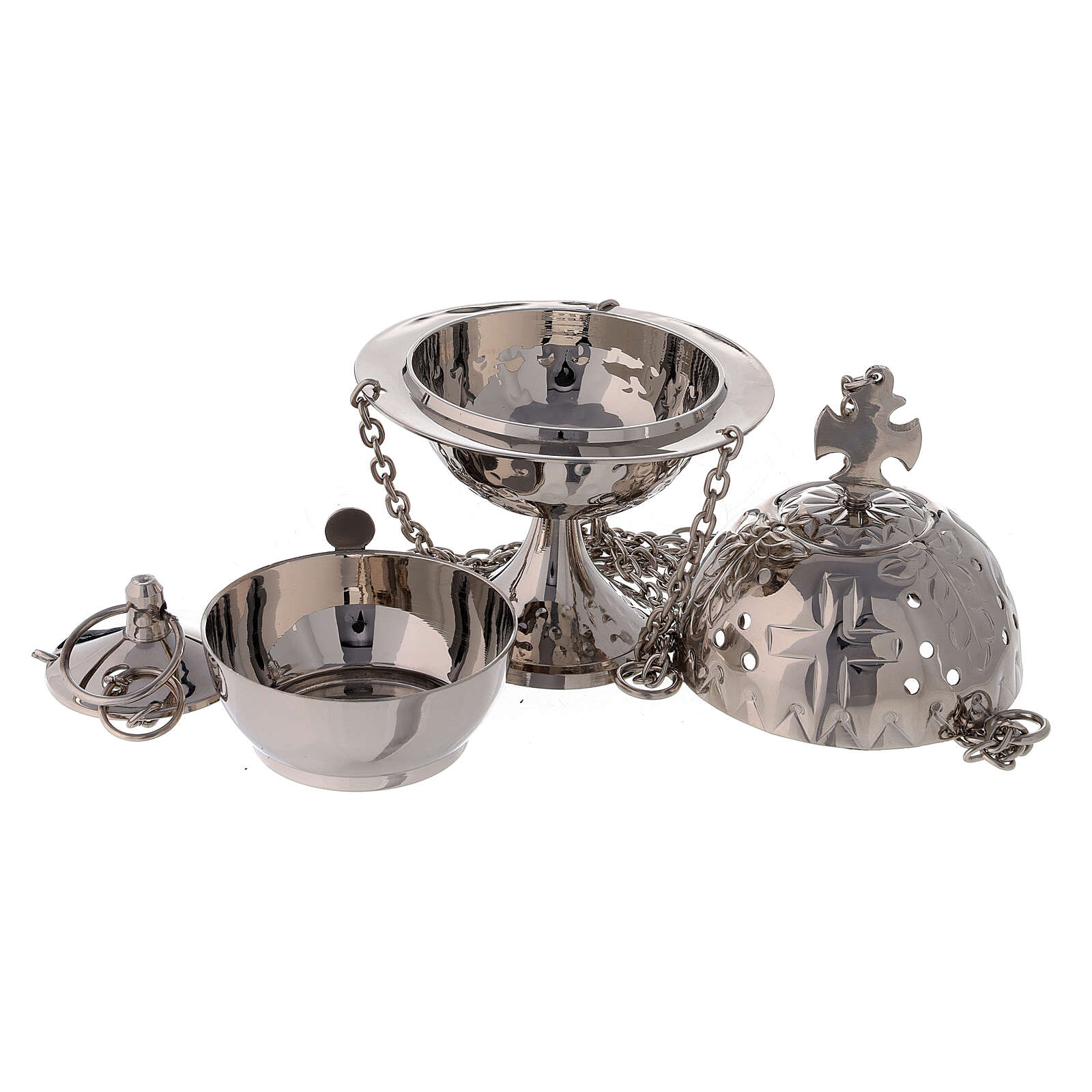 Round thurible with triangular decorations 6 1/4 in nickel-plated brass 3