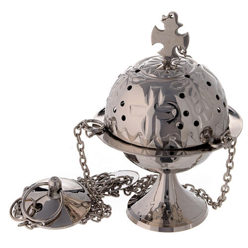 Round thurible with triangular decorations 6 1/4 in nickel-plated brass 1