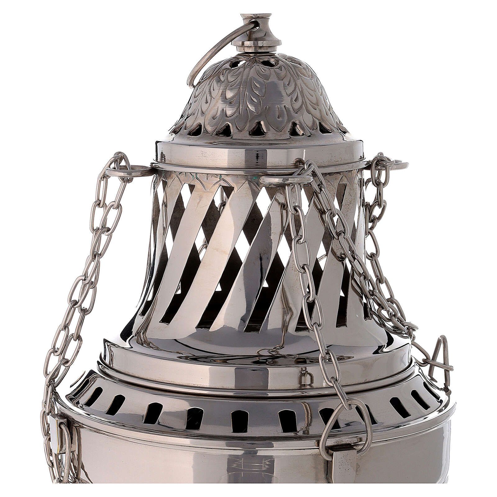 Santiago style thurible in nickel-plated brass h 13 in 3