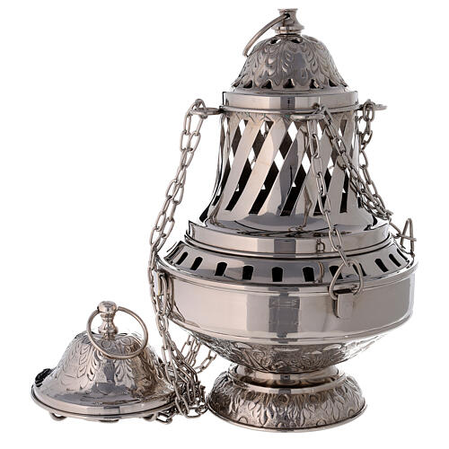 Santiago style thurible in nickel-plated brass h 13 in 1