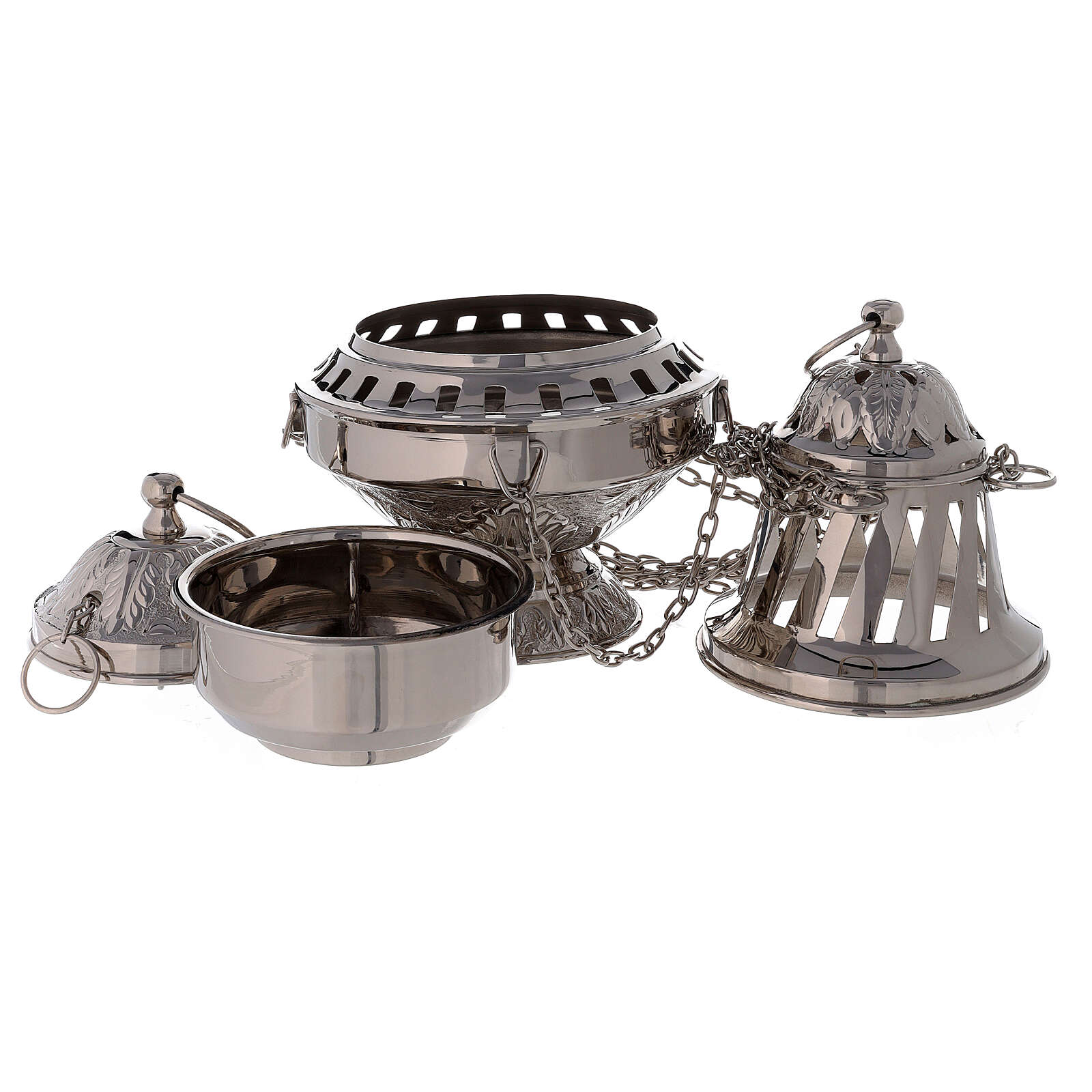 Thurible with leaves decorations nickel-plated brass 10 1/2 in 3