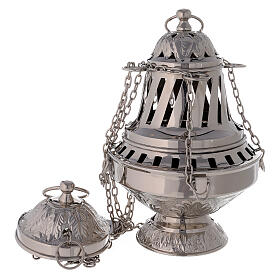Thurible with leaves decorations nickel-plated brass 10 1/2 in s1