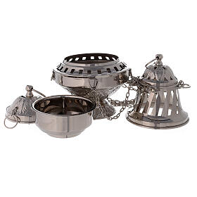 Thurible with leaves decorations nickel-plated brass 10 1/2 in s3