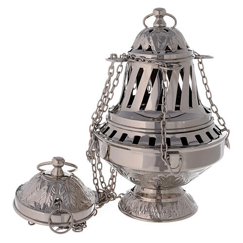 Thurible with leaves decorations nickel-plated brass 10 1/2 in 1