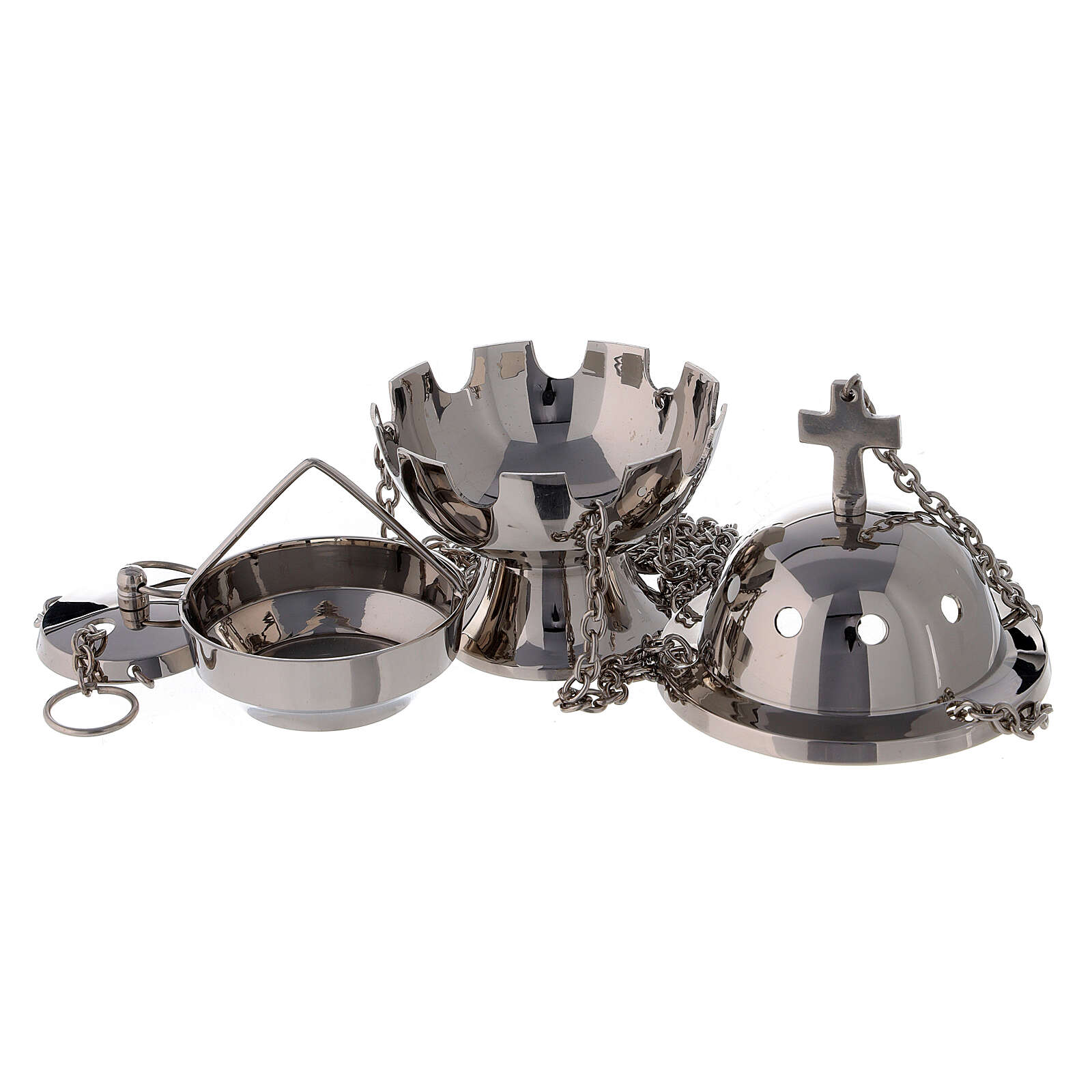 Spherical thurible with latin cross on the top nickel-plated brass h 5 in 3