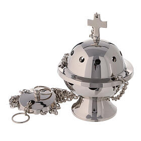 Spherical thurible with latin cross on the top nickel-plated brass h 5 in s1