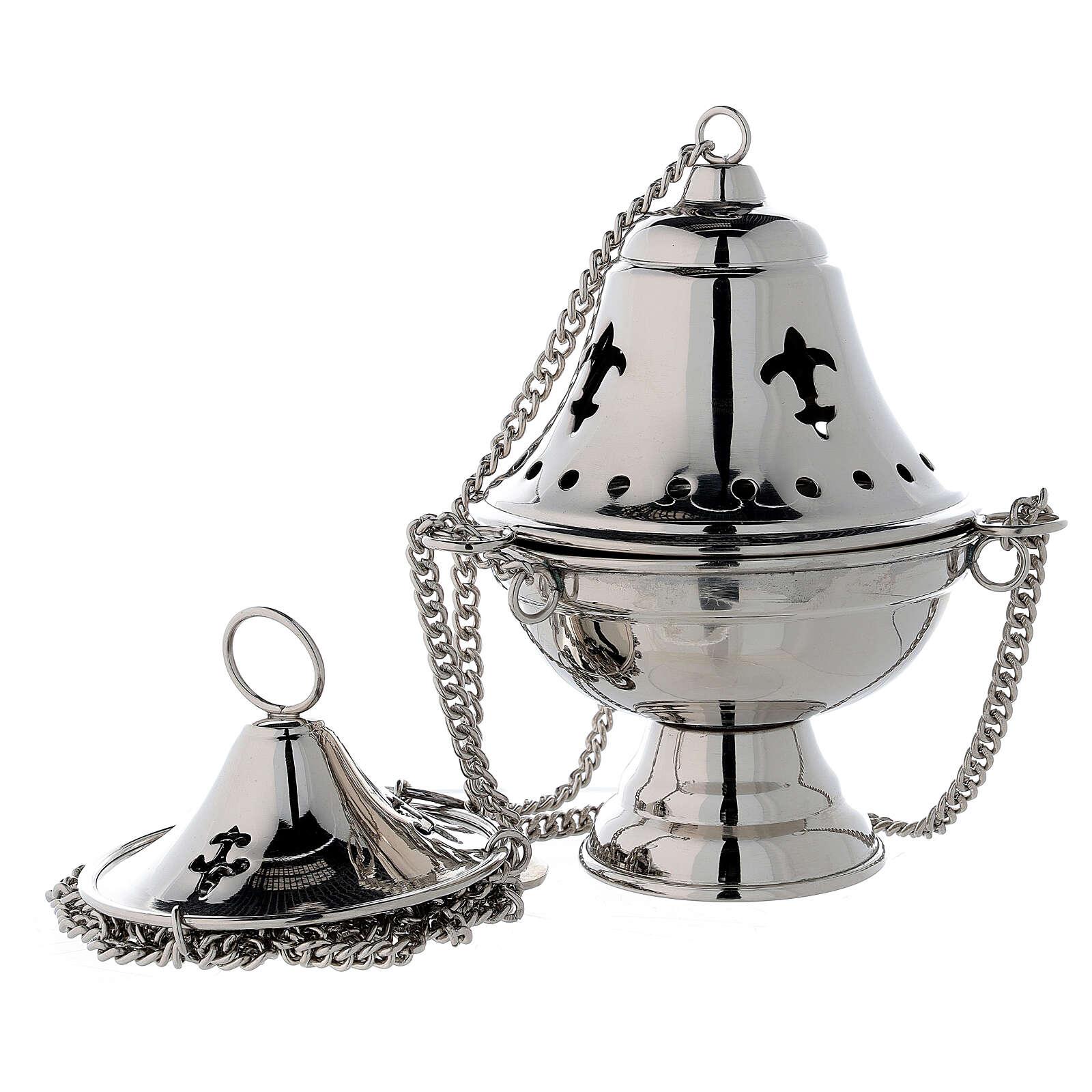 Turibolo coperchio campana ottone nichelato h 17 cm 3