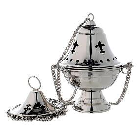 Turibolo coperchio campana ottone nichelato h 17 cm s1