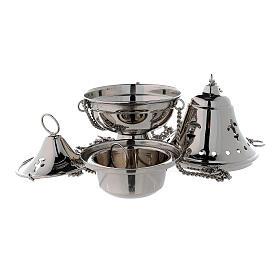 Turibolo coperchio campana ottone nichelato h 17 cm s2