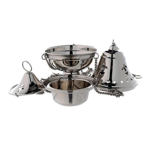 Turibolo coperchio campana ottone nichelato h 17 cm 2