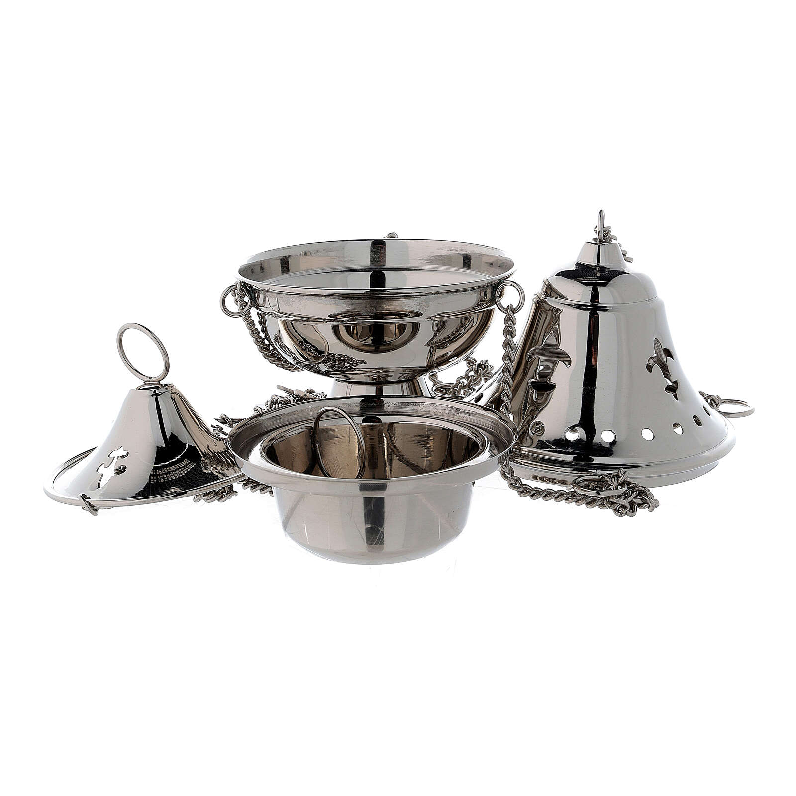 Nickel-plated brass thurible with bell shaped cover h 6 3/4 in 3