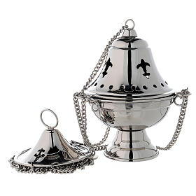 Nickel-plated brass thurible with bell shaped cover h 6 3/4 in s1