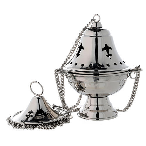 Nickel-plated brass thurible with bell shaped cover h 6 3/4 in 1