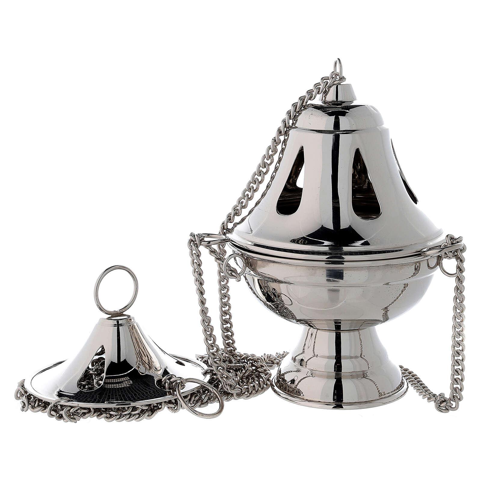 Incensario campana agujeros en forma de gota h 17 cm latón niquelado 3