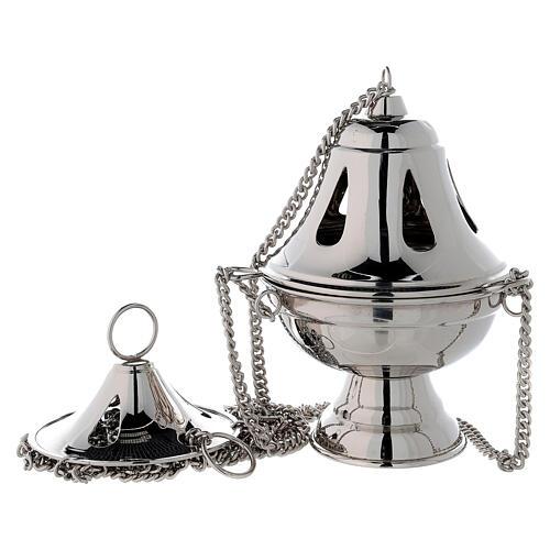 Incensario campana agujeros en forma de gota h 17 cm latón niquelado 1