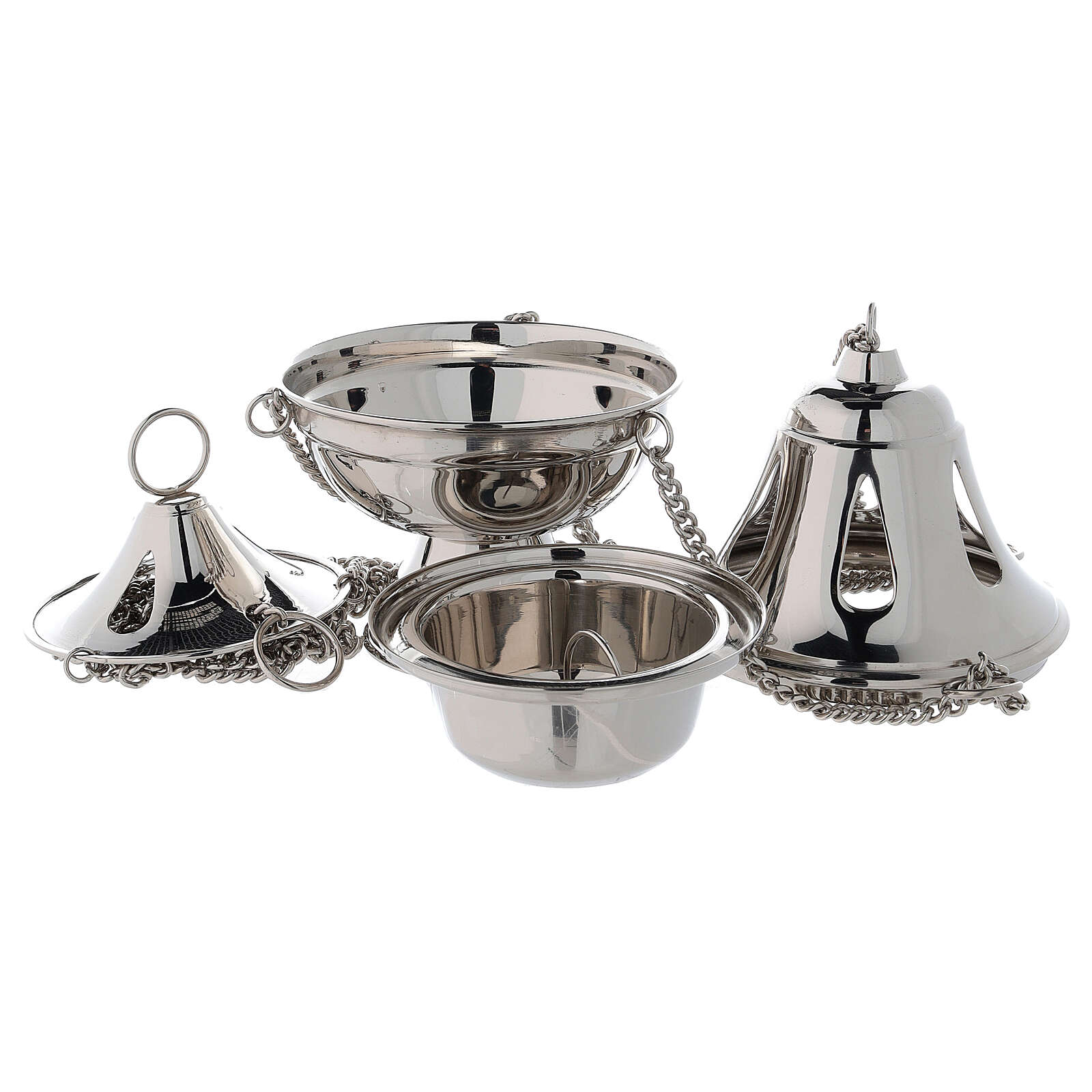Bell shaped thurible with drop-shaped holes h 6 3/4 in nickel-plated brass 3