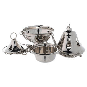 Bell shaped thurible with drop-shaped holes h 6 3/4 in nickel-plated brass s2