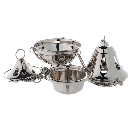 Bell shaped thurible with drop-shaped holes h 6 3/4 in nickel-plated brass 2