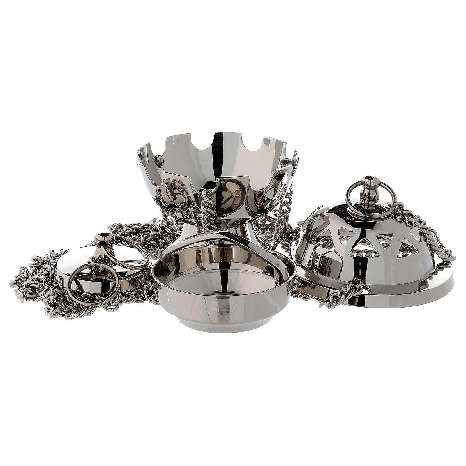 Spherical thurible with triangular holes nickel-plated brass 4 1/4 in 3
