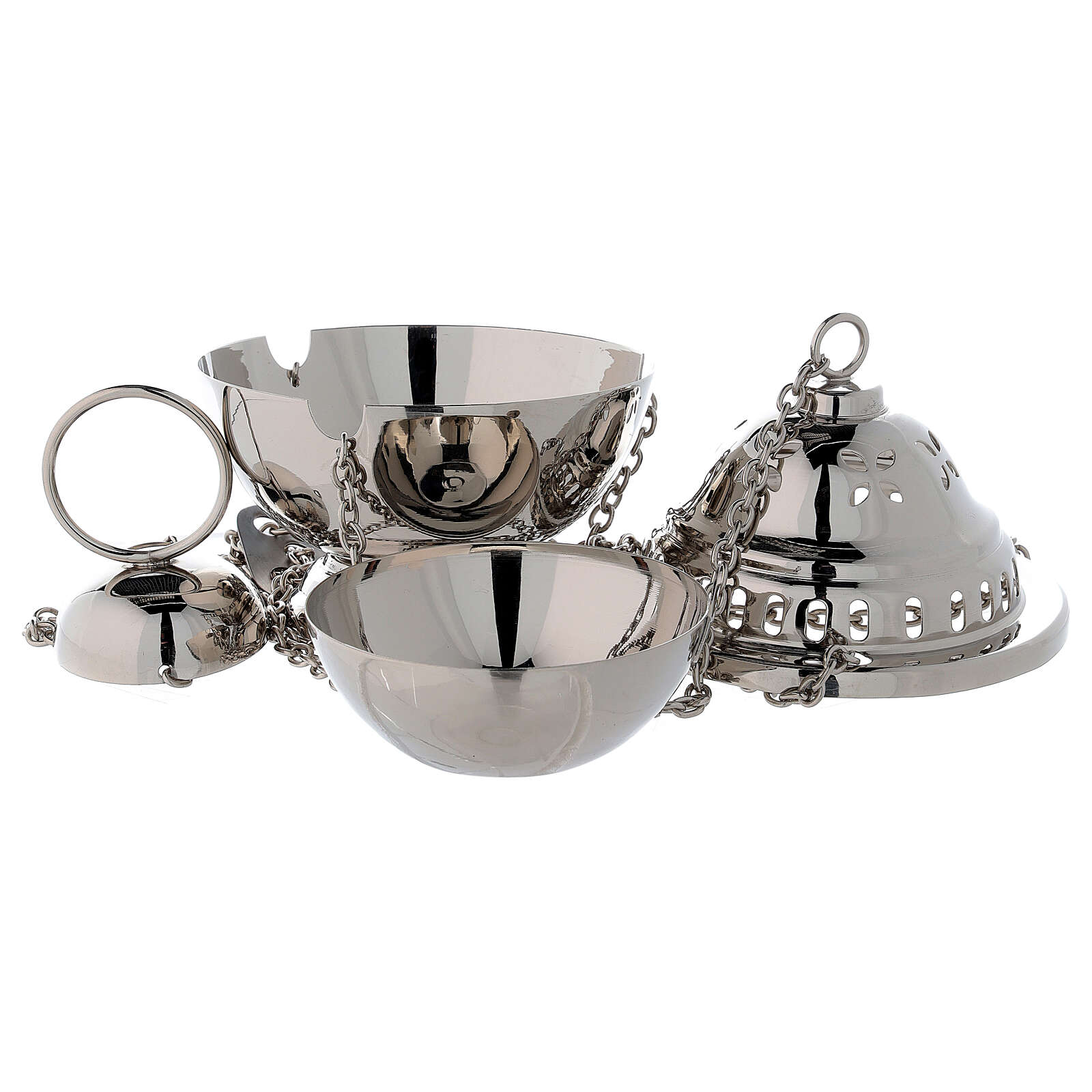 Spherical censer with petal holes in nickel-plated brass h 14 cm 3