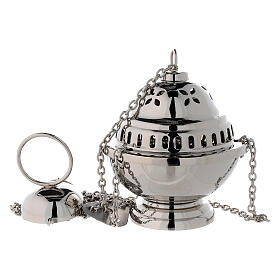 Spherical censer with petal holes in nickel-plated brass h 14 cm s1