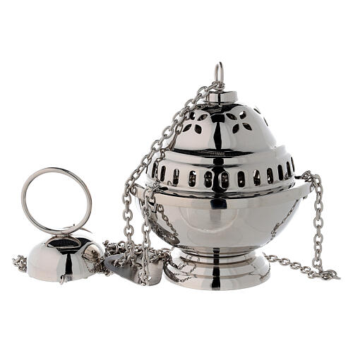 Spherical censer with petal holes in nickel-plated brass h 14 cm 1