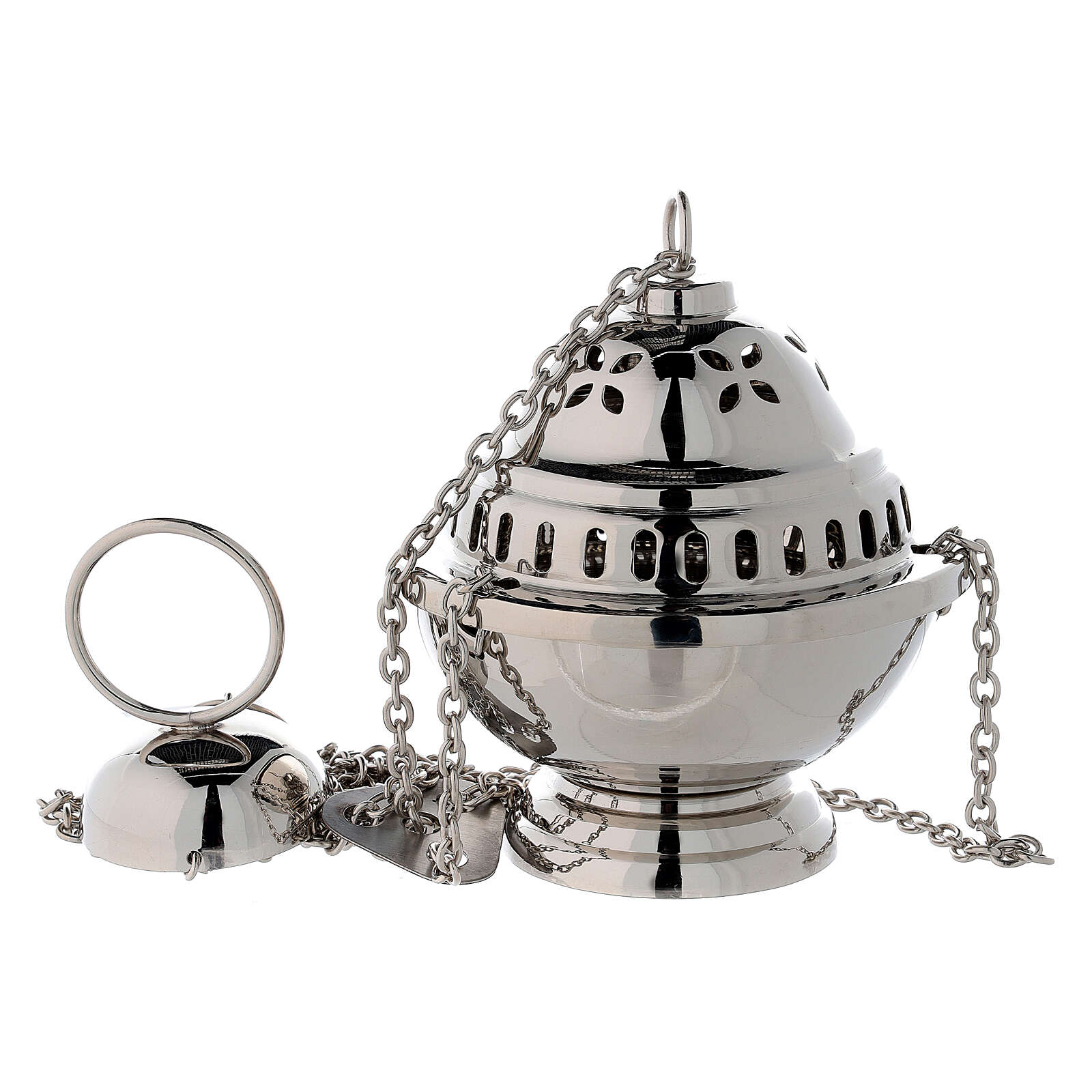Turibolo sferico fori a petalo ottone nichelato h 14 cm 3