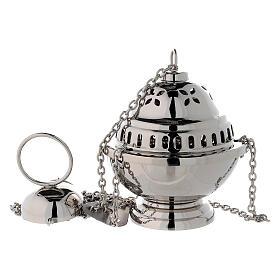 Turibolo sferico fori a petalo ottone nichelato h 14 cm s1