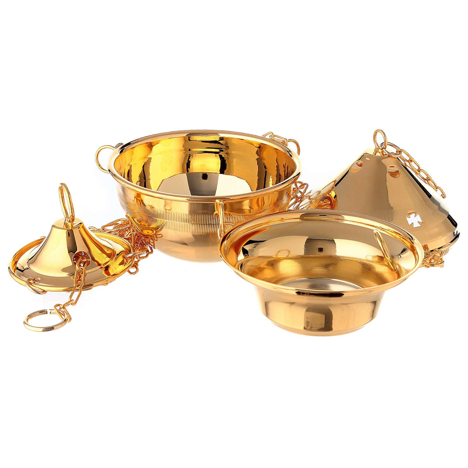Turibolo in ottone dorato con navicella per incenso 3