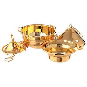 Turibolo in ottone dorato con navicella per incenso s2