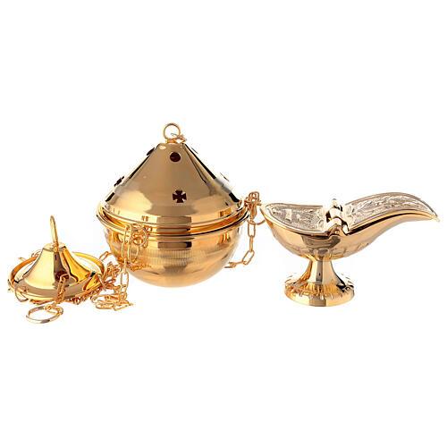 Turibolo in ottone dorato con navicella per incenso 1
