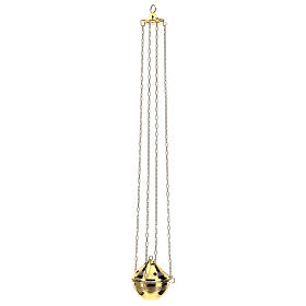 Gold plated brass thurible with incense boat s6