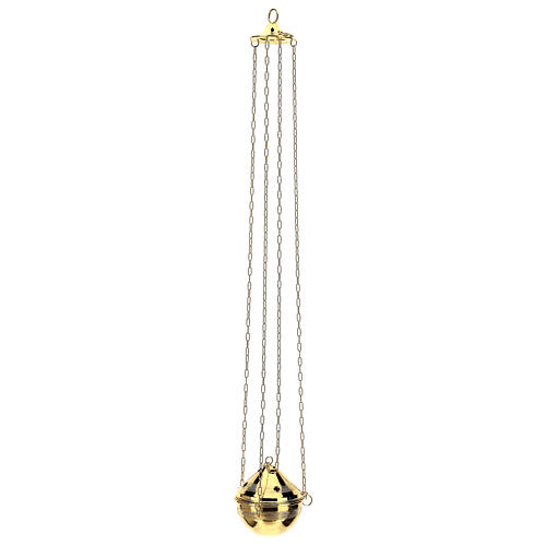 Gold plated brass thurible with incense boat 6