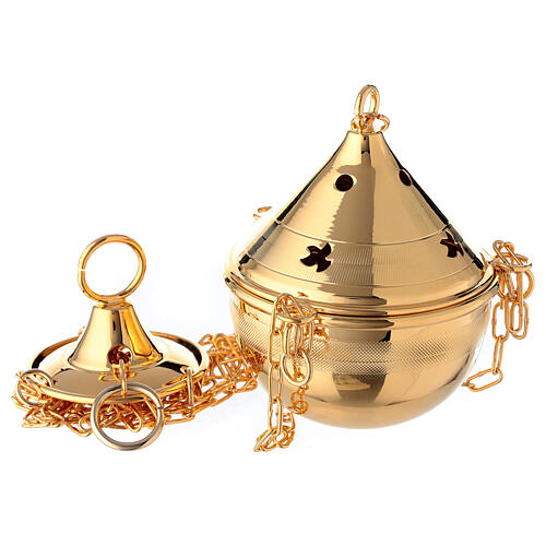 Thurible in polished 24-karat gold plated brass with chain 1