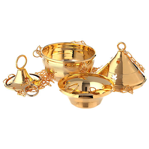 Thurible in polished 24-karat gold plated brass with chain 2