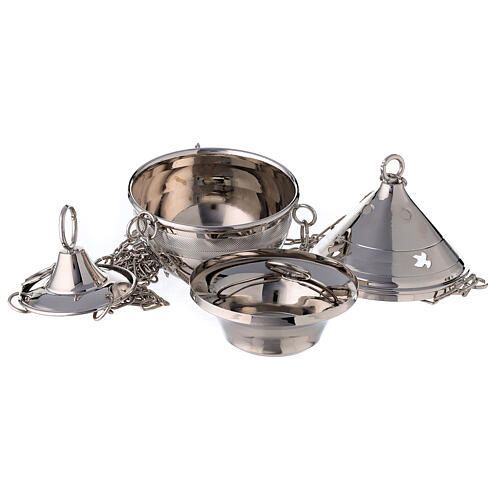 Thurible in silver plated brass with chain 2