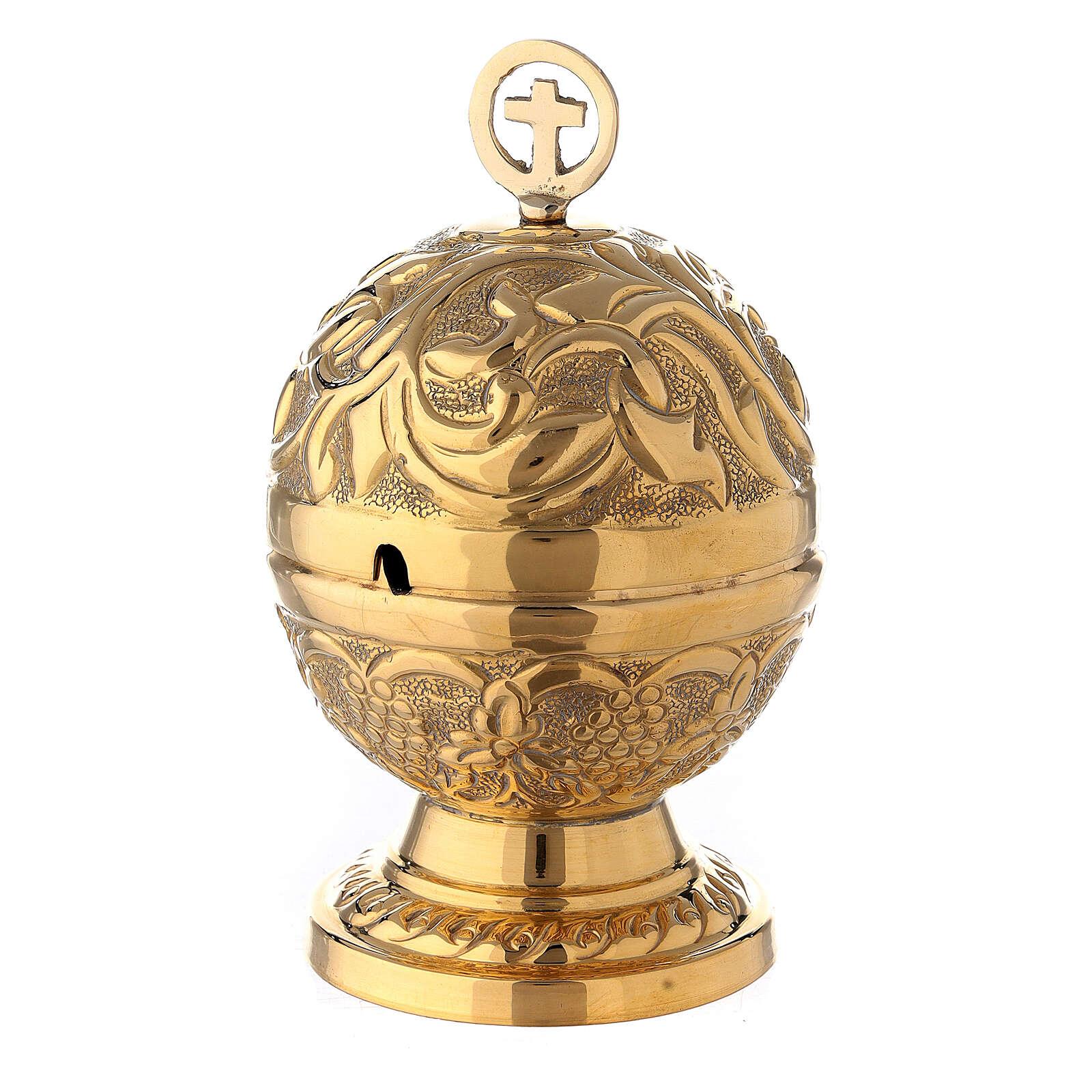 Naveta esférica barroca latón dorado 13 cm 3